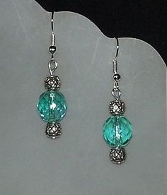 beaded earrings fire polished light aqua dangling handmade NEW