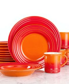 Le Creuset Dinnerware, Flame 16 Piece Set - Casual Dinnerware - Dining & Entertaining - Macy's