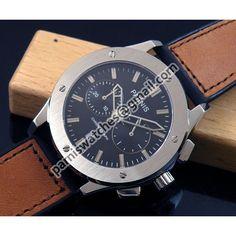 £95.96 PARNIS 44mm black dial chronograph quartz gents watch brown rubber strap