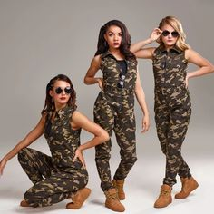 Camo print twill cotton/spandex sleeveless drop crotch belted jumpsuit with a zippered front. Hip Hop Dancer Outfits, Dance Outfits, Hip Hop Costumes, Cool Costumes, Costume Ideas, Army Pants Outfit, Dance Competition Hair, Dancers Wardrobe, Dance Recital Costumes