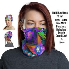 Face Mask Colorful Floral Pattern 12 in 1 Multi-functional | Etsy Buy Mask, Black Neck, Pillow Room, Balaclava, Fashion Face Mask, Dreads, Head Wraps, Hair Band, Fabric Weights