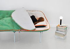 This is the Camp Daybed from designer Stephanie Hornig. It's a daybed with an integrated sleeping bag. Sure you could just lay a sleeping bag out on your existing couch, but if you don't bungee-cord yourself to the frame. Ecole Design, Architecture Cool, Mini Loft, The Design Files, Cool Gadgets, My Dream Home, Furniture Design, Modern Furniture, Modern Sofa