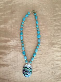 Turquoise Necklace with Shell Pendant, Gold Beaded Jewelry