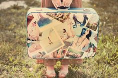 Mod Podge and photos to customize an old suitcase.