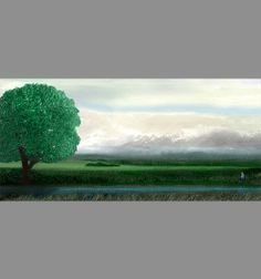 Landscape art Breaking Clouds with Tree and View by JohnTownes, $30.00