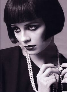 The classic bob with straight fringe ala Louise Brooks. Trevor Sorbie once did this cut on me on stage in Dallas.