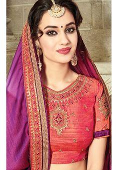 Designer Purple Silk Saree With Resam Zari Work And Heavy Lace Border