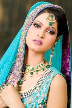 blue and pink Asian Wedding Makeup, Asian Wedding Dress, Bridal Makeup Looks, Indian Bridal Makeup, Indian Dresses, Indian Outfits, Black And Silver Eye Makeup, Indian Marriage, Pakistani Bridal Wear