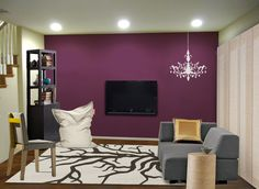 Rock your small space with a juicy purple accent wall - Mochi Home virtual makeover