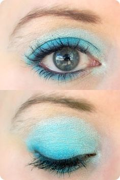 Frozen eye makeup featuring white and blue eye shadow