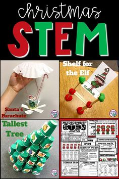 3 LOW PREP Christmas Themed STEM Challenges for December! Students will engineer Santa's Parachute, a Shelf for the Elf, and the Tallest Tree. Vocabulary cards, instructions, student recording sheets, and digital notebook included! Elementary STEM Activities | Holiday STEM | Kindergarten, First Grade, Second Grade, Third Grade, Fourth Grade, Fifth Grade