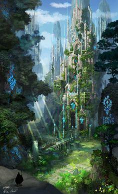 Cathedral of the cliff, ain choi on ArtStation at … – Kathedrale der Klippe, ain choi auf. Fantasy Artwork, Fantasy Art Landscapes, Fantasy Concept Art, Fantasy Landscape, Landscape Art, Fantasy City, Fantasy Castle, Fantasy Places, Fantasy Kunst