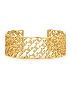 Perforated+Serif-T+Cuff+Bracelet+by+Tory+Burch+at+Neiman+Marcus.