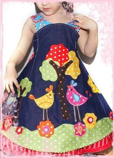 Feliz dress with bird applique