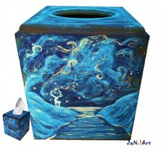 Harry Potter Hogwarts Hand Painted Tissue Box Cover Dobby Patronus Owl Sorting Hat Wizard World Kleenex Storage Rowling JaN:)Art :: JaN:) Art