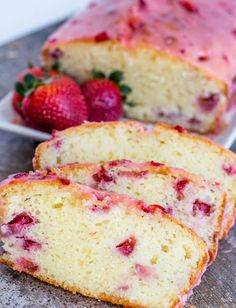 Strawberry Pound Cake is deliciously moist and flavorful; a one bowl treat toppe… Strawberry Pound Cake is deliciously moist and flavorful; a one bowl treat topped with a sweet strawberry glaze. via Yellow Bliss Road Strawberry Dessert Recipes, Strawberry Cakes, Strawberry Muffins, Strawberry Glaze Recipe For Cake, Food Cakes, Cupcake Cakes, Cupcakes, Pound Cake With Strawberries, Recipes With Strawberries