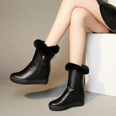 Casual Women Zip Warm Fur Lining Round Toe Wedge Heel Ankle Boots Winter Shoes