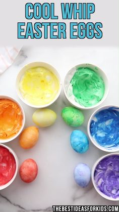 COOL WHIP EASTER EGGS - such a fun way to dye Easter eggs! Make these Cool Whip Easter eggs. This is an edible way to get the same effect as shaving cream eggs. Easter Egg Dye, Easter Art, Coloring Easter Eggs, Hoppy Easter, Easter Crafts For Kids, Painting Eggs For Easter, Easter Egg Hunt Ideas, Shaving Cream Easter Eggs, Cool Easter Eggs