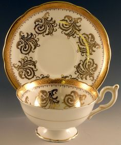 Heavy Gold Foley Bone China Cup Saucer Set Made in England English Footed Wide | eBay