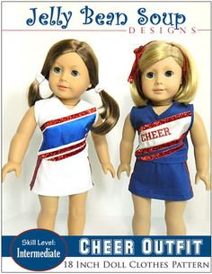 PDF sewing pattern - Cheer Outfit for 18 inch American Girl Dolls - Download, Print, Sew www.pixiefaire.com