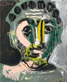 colin-vian:    Pablo Picasso - Tête d'Homme, 1965. Oil on canvas