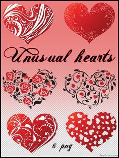Unusual hearts - Clipart