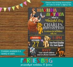 Lion King Chalkboard Birthday Party Invitations Personalized