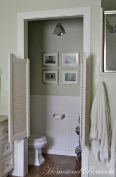 Homestead Revival: Farmhouse Tour Love the water closet doors! An excellent idea!