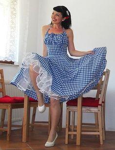Pinup jurk 'Lollipop jurk in blauw en wit door PinupDollCollection