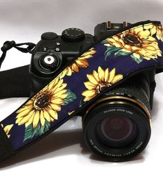 Sunflowers Camera Strap, Yellow, Dark  Blue, Black Camera Strap, Nikon, Canon Camera Strap, Women Accessories by CameraStraps4You on Etsy