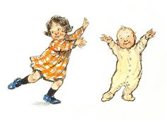 Shirley Hughes writes about Alfie and Annie Rose, their neighbors, and family.  The illustrations looks like real families live in the pages -- a little messy with much love.