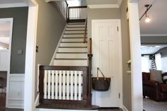 Our latest project was creating baby gates for the top and bottom of our stairs. I will preface this entire post by saying it was WAY more difficult than I had anticipated! Probably one of our most challenging DIY projects to date. There were a lot of steps and it took a lot of patience. However, th