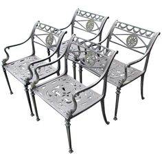 Set of Four Neoclassical Garden Chairs | From a unique collection of antique and modern garden furniture at https://www.1stdibs.com/furniture/building-garden/garden-furniture/