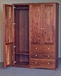 Modern Walnut Armoire crafted by Scott Jordan Furniture in New York City Armoire Dresser, Antique Armoire, Dresser Furniture, Amish Furniture, Bedroom Furniture, Furniture Design, Bedroom Decor, Hidden Compartments, Storage Design