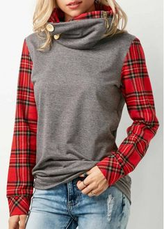 Plaid Print Pile Collar Grey Sweatshirt | Rosewe.com - USD $33.09