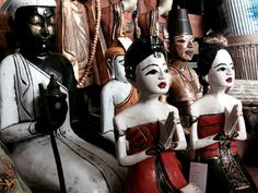 Painted wood figures from Bali