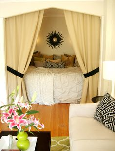 Cozy bed nook perfect for a studio apartment Alcove Bed, Home, Home Bedroom, Small Apartments, Bed Design, House, Bed Nook, Bed In Closet, Apartment Decor