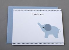 Blue Elephant Baby Shower Thank You A2 Flat Note by RatDogInk, $17.00