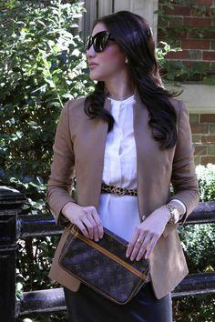 MariaOnPoint | Fall Hues @jcrew regent blazer + leopard skinny belt, @zaraofficial blouse, @hoh1960 sunglasses <ready to wear office outfit>