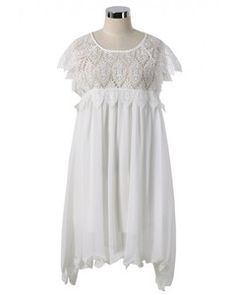 Chicwish Swing White Dress with Lace Top