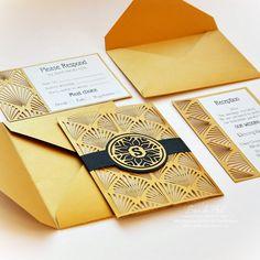 Wedding invitation Card Set Template Retro by EasyCutPrintPD