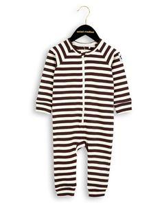 Mini Rodini - Stripe Rib LL Bodysuit In Brown