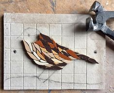 A creative day in the studio - mosaic dunnock work in progress