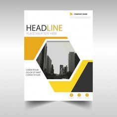 Geometric brochure, yellow color Free Ve. Company Brochure Design, Brochure Cover Design, Graphic Design Brochure, Graphic Design Posters, Graphic Design Inspiration, Brochure Template, Flyer Template, Book Cover Page Design, Book Design