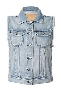 Work a Boho-chic edge into every outfit with Adriano Goldschmied's light wash denim vest #Stylebop
