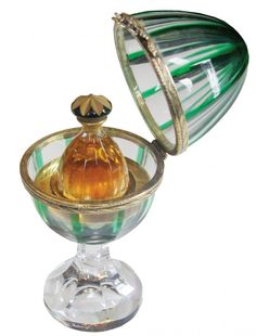 FABERGE GREEN & CLEAR EGG WITH PERFUME SIDE DECORATION