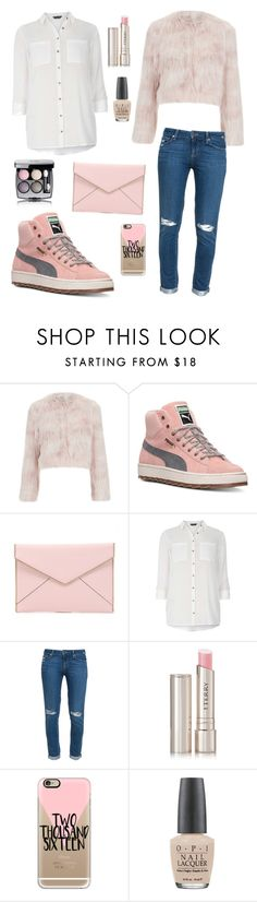 """"""""""" by sarahaider ❤ liked on Polyvore featuring RED Valentino, Puma, Rebecca Minkoff, Dorothy Perkins, Paige Denim, By Terry, Casetify, OPI, Chanel and women's clothing"""