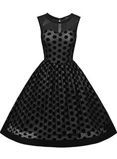 Missmay Women's Classy Polka Dot Crew Neck Pinup Swing A-line Dress.  Missmay Damen ?mellos Abendkleid Vintage 50er Jahr Kleid . ...