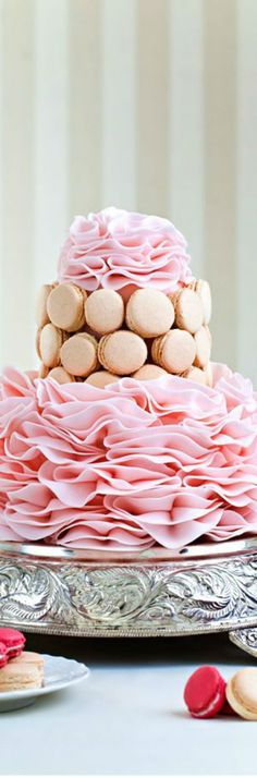 Here's a Better Example of a Ruffle Cake, a Pink Ruffle Wedding Cake! Those Must Pink Macaroons in There, They Seem to Be Very Popular Lately. Is There Any Actual Cake in There? Pink Macaroons, Macarons, Bridal Elegance, Ruffle Cake, Pink Champagne, Mini Cakes, Let Them Eat Cake, Beautiful Cakes, Vanilla Cake