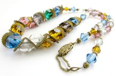 Vintage Czech Art Deco Necklace Colored by ToadSuckTreasures, $75.00